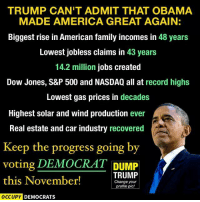 America, Family, and Memes: TRUMP CAN'T ADMIT THAT OBAMA  MADE AMERICA GREAT AGAIN:  Biggest rise in American family incomes in  48 years  Lowest jobless claims in 43 years  14.2 million jobs created  Dow Jones, S&P 500 and NASDAQ all at record highs  Lowest gas prices in decades  Highest solar and wind production ever  Real estate and car industry recovered  Keep the progress going by  voting DEMOCRAT DUMP  TRUMP  this November!  Change your  profile pic!  OCCUPY DEMOCRATS Trump would take us back so far back it would take decades to repair. ~Rick  Via Occupy Democrats