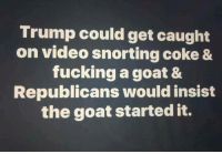 Indeed!: Trump could get caught  on video snorting coke &  fucking a goat &  Republicans would insist  the goat started it. Indeed!