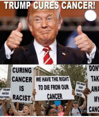 Bad, Memes, and Cancer: TRUMP CURES CANCER!  CURING  CANCER WE HAVE THE RIGHT  DON  TAK  UNP ISTO DIE FROM R  CANCE  TRUMP  HATES  OCTORS  MY  RACIST CANCER  CANC This is how it really is... liberals will cry and weep over anything Trump does. Good or bad. Pc: @outlawmorgan