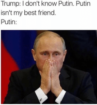 Putin Memes: Trump: don't know Putin. Putin  isn't my best friend.  Putin