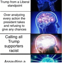A meme I made Partners: @englishconservatarian @dutchegalitarian donaldtrump presidenttrump liberals conservatives sjws politics politicalmemes dankmemes dankmeme memes meme: Trump from a Liberal  standpoint  Over analyzing  every action the  president takes  and refusing to  give any chances  Calling all  Trump  supporters  racist  Assaulting a A meme I made Partners: @englishconservatarian @dutchegalitarian donaldtrump presidenttrump liberals conservatives sjws politics politicalmemes dankmemes dankmeme memes meme