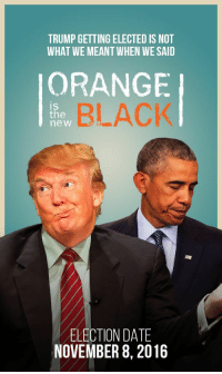 Orange is the new Black: TRUMP GETTING ELECTED IS NOT  WHAT WE MEANTWHEN WESAID  ORANGE  BLACK  IS  the  new  ELECTION DATE  NOVEMBER 8, 2016 Orange is the new Black