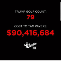 Golf, Time, and Trump: TRUMP GOLF COUNT:  79  COST TO TAX PAYERS:  $90,416,684  ITS  TIME For more you can follow Tucker Benedict