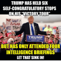 "Memes, Politics, and Texting: TRUMP HAS HELD SIX  SELF-CONGRATULATORY STOPS  ON HIS ""VICTORY TOUR""  FvTVRE  TRUMP  TEXT TRUMP to 88022  Dayton, Ohio  AKE AMERICA GREAT AGAIN  INTELLIGENCE BRIEFINGS  LETTHAT SINK IN! THIS IS A PROBLEM!!!  Please LIKE Proud Liberals for all your political news!!!"