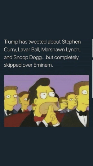 Eminem, Marshawn Lynch, and Snoop: Trump has tweeted about Stephen  Curry, Lavar Ball, Marshawn Lynch,  and Snoop Dogg...but completely  skipped over Eminem. He know better