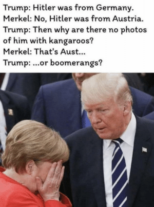 this or being in a boring meeting: Trump: Hitler was from Germany  Merkel: No, Hitler was from Austria.  Trump: Then why are there no photos  of him with kangaroos?  Merkel: That's Aust...  Trump: ...or boomerangs? this or being in a boring meeting
