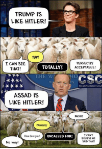From Our Good Friends At CSC Media Group US: TRUMP IS  LIKE HITLER!  Yup!  PERFECTLY  I CAN SEE  TOTALLY!  ACCEPTABLE!  THAT!  THE WT  CSC  MEDIAGROUPUSA  ASSAD IS  LIKE HITLER!  RACIST!  PATHETIC!  I CANT  How dare you!  UNCALLED FOR!  BELIEVE HE  SAID THAT!  No way! From Our Good Friends At CSC Media Group US