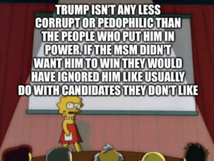 Sorry TJWs: TRUMP ISN'T ANY LESS  CORRUPTOR PEDOPHILIC THAN  THE PEOPLE WHO PUTHIM IN  POWER.IF THE MSMDIDNT  WANT HIM TO WIN THEY WOULD  HAVE IGNORED HIMLIKE USUALLY  DOWITH CANDIDATES THEY DONTLIKE Sorry TJWs