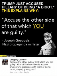 "Memes, Propaganda, and Trump: TRUMP JUST ACCUSED  HILLARY OF BEING ""A BIGOT  THIS EXPLAINS WHY:  Accuse the other side  of that which YOU  are guilty.""  Joseph Goebbels,  Nazi propaganda minister  OCCUPY  DEMOCRATS  Gregory Curtner  ""Accuse the other side of that which you are  guilty"". Kind of like how liberals accuse  anyone who disagrees with them of being  racist, stupid, greedy, etc?  Just now Like Reply (GC)"