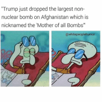 "Af, Afghanistan, and Fuck: ""Trump just dropped the largest non-  nuclear bomb on Afghanistan which is  nicknamed the 'Mother of all Bombs""  @whitepeoplehumor Same af @whitepeoplehumor straight chillin 💯 Follow this baller fuck for the F"