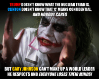 Memes, Mean, and Meaning: TRUMP  KNOWWHAT THE NUCLEAR TRIADIS,  CLINTON  DOESNT KNOW THAT C MEANS CONFIDENTIAL  AND NOBODY CARES  BUT GARY JOHNSON  CANT MAKE UPA WORLD LEADER  HE RESPECTSAND EVERYONE LOSES THEIR MINDS! Typical.