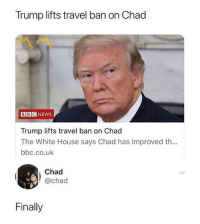 Memes, White House, and House: Trump lifts travel ban on Chad  BBCNEWS  Trump lifts travel ban on Chad  The White House says Chad has improved th...  bbc.co.uk  Chad  @chad  Finally i have a rlly high fever n feel like im dying give me tips on how to get better pls