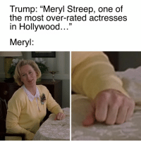 """😠: Trump: """"Meryl Streep, one of  the most over-rated actresses  in Hollywood  33  Meryl 😠"""
