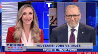 Jobs, Power, and Text: TRUMP  MIDTERMS: JOBS VS. MOBS  PEN CE  MAKE AME  GREAT AGAIN  STUDIO 45-TRUMP TOWER  RIBE  TEXT TRUMP TO 88 The Democrats care more about having power than doing what's right for the country. I need you to vote for JOBS, not mobs!