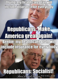 Notice that?: Trump my healthcare plan will  include insurance for everybody  Republicans Make  America great again!  Bernie: my healthcare Dan  Will  include insurance for everybody  Republicans Socialist!  PIC COLLAGE Notice that?