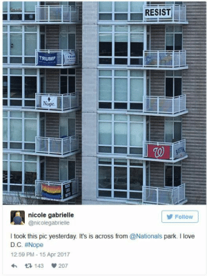 Love, Tumblr, and Blog: TRUMP  Nope  Follow  nicole gabrielle  @nicolegabrielle  I took this pic yesterday. It's is across from @Nationals park. I love  D.C. #Nope  12:59 PM-15 Apr 2017  h 143 207 dr-guyoverthere: what is with the walgreens flag