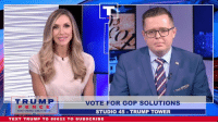 "Taxes, Immigration, and Text: TRUMP  P E N C E  VOTE FOR GOP SOLUTIONS  STUDI0 45 TRUMP TOWER  TEXT TRUMP T0 88022 TO SUBSCRIBE With only hours until Election Day, we want voters to know that Republicans will deliver on the issues that matter most.   ""If you like low taxes, vote Republican. If you want a real solution to the healthcare crisis, vote Republican. If you want to solve the crisis of illegal immigration, VOTE REPUBLICAN.""  - Harlan Z. Hill"