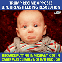 ICYMI: The US went to bat for baby formula companies, shocking our UN cohorts.: TRUMP REGIME OPPOSES  U.N. BREASTFEEDING RESOLUTION  act.tv  BECAUSE PUTTING IMMIGRANT KIDS IN  CAGES WAS CLEARLY NOT EVIL ENOUGH ICYMI: The US went to bat for baby formula companies, shocking our UN cohorts.