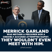 Memes, Trump, and 🤖: TRUMP  RESISTANCE  MOVEMENT  MERRICK GARLAND  WAS NEITHER A PERJURER NOR A  CREDIBLY ACCUSED ATTEMPTED RAPIST.  THEY WOULDN'T EVEN  MEET WITH HIM  @PatCunnane Remember in November