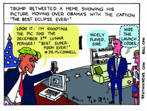 """Do Not Stare Directly Into the Eclipse Meme - Sputnik International: TRUMP RETWEETED A MEME SHOWING HISs  PICTURE MOVING OVER OBAMA'S WITH THE CAPTION  THE BEST ECLIPSE EVER!""""  HIDE  THE  LAUNCH '  CODES.,