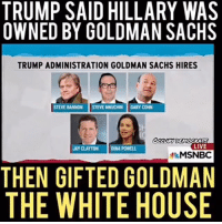 Swamped: TRUMP SAID HILLARY WAS  OWNED BY GOLDMAN SACHS  TRUMP ADMINISTRATION GOLDMAN SACHS HIRES  STEVE BANNON  STEVE MNUCHIN  GARY COHN  OCCUPY DEMOCRATS  LIVE  JAY CLAYTON  INA POWELL,  MSNBC  THEN GIFTED GOLDMAN  THE WHITEHOUSE Swamped