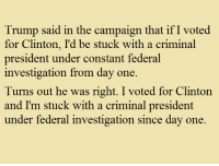 Memes, Image, and Trump: Trump said in the campaign that ifI voted  for Clinton, I'd be stuck with a criminal  president under constant federal  investigation from day one.  Turns out he was right. I voted for Clinton  and I'm stuck with a criminal president  under federal investigation since day one. Ayup. Image from The Other 98%