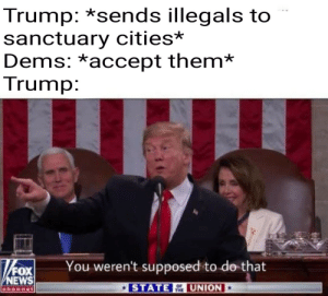 Jokes on you baby hands: Trump: *sends illegals to  sanctuary cities*  Dems: *accept them*  Trump:  Fox!  You weren't supposed to do-that  FOX  EWS  STATE UNION  OF  THE Jokes on you baby hands