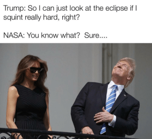 Dank, Memes, and Nasa: Trump: So I can just look at the eclipse if I  squint really hard, right?  NASA: You know what?Sure.... A classic moment by fatstrat228 MORE MEMES