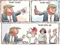 TRUMP STEAKS  HEARST  TRUMP WINES  TRUMP KOOL-AID Trump Products...click the link for many more cartoons: http://www.houstonchronicle.com/opinion/anderson/article/Trump-Products-10887249.php?t=3050528013438d9cbb #Trump #DonaldTrump