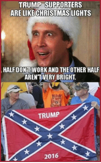 Christmas, Memes, and Work: TRUMP SUPPORTERS  ARE LIKE CHRISTMAS  LIGHTS  HALF DONT WORK AND THE OTHER HALF  ARENTIVERY BRIGHT  TRUMP  2016