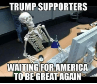 Memes, Luck, and 🤖: TRUMP SUPPORTERS  WAITING FOR AMERICA  TO BE GREAT AGAIN Good luck with that.   H/t Occupy Democrats