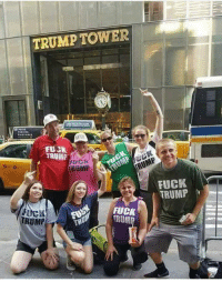 Family of tourist visit Trump Tower with some explicit shirts.: TRUMP TOWER  FUCK  TAUMP  RUMP  FUCK  TRUMP  FUCK  RUP  RUMP  TR Family of tourist visit Trump Tower with some explicit shirts.