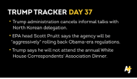 "Memes, Inbox, and 🤖: TRUMP TRACKER  DAY 37  Trump administration cancels informal talks with  North Korean delegation.  EPA head Scott Pruitt says the agency will be  ""aggressively"" rolling back Obama-era regulations.  Trump says he will not attend the annual White  House Correspondents' Association Dinner. You can catch our daily feature (which includes all the links and sources) in your inbox too: http\://ajplus.co/sy39"