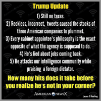 Via American News X: Trump Update  1) Still no taxes.  2) Reckless, incorrect, tweets caused the stocks of  three American companies to plummet.  3) Every cabinet appointee's philosophy is the exact  opposite of what the agency is supposed to do.  4) He's lied about jobs coming back.  5) He attacks our intelligence community while  praising a foreign dictator.  How many hits does it take before  you realize he's not in your corner  AMERICAN NEWSX  Laura C Keeling Via American News X