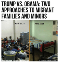 Memes, Obama, and Texas: TRUMP VS. OBAMA: TWO  APPROACHES TO MIGRANT  FAMILIES AND MINORS  June 2014  June 2018  reithart Texas Release  U.S. Government Photos Left is under the Obama administration, right is under Trump.