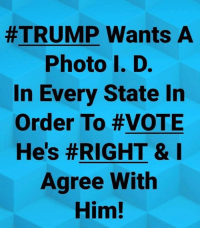 Hes Right:  #TRUMP Wants A  Photo I. D.  In Every State In  Order To #VOTE  He's #RIGHT & I  Agree With  Him!