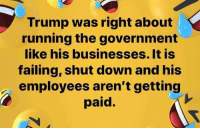 Trump, Government, and Running: Trump was right about  running the government  like his businesses. It is  failing, shut down and his  employees aren't getting  paid.