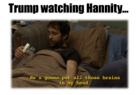 Brains, Head, and Politics: Trump watching Hannity  He's gonna put all those brains  in my head