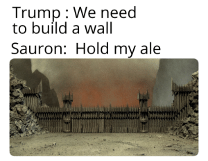 Lord of the Rings, Trump, and Sauron: Trump We need  to build a wall  Sauron: Hold my ale Hold my ale