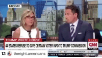 America, cnn.com, and Funny: TRUMP WHITE HOUSE  LIVE  LIVE  44 STATES REFUSE TO GIVE CERTAIN VOTER INFO TO TRUMP COMMISSION N  CNN  CHARLOTTE 93  WASHINGTON 85  乜电theright.americans  AIDE &TRACK COACH ARRESTE NEW DAY This is hilarious😂🤣 PC: @conservative.american 🔴www.TooSavageForDemocrats.com🔴 JOINT INSTAGRAM: @rightwingsavages Partners: 🇺🇸 @The_Typical_Liberal 🇺🇸 @theunapologeticpatriot 🇺🇸 @DylansDailyShow 🇺🇸 @keepamerica.usa 🇺🇸@Raised_Right_ 🇺🇸@conservative.female 🇺🇸 @too_savage_for_liberals 🇺🇸 @Conservative.American DonaldTrump Trump 2A MakeAmericaGreatAgain Conservative Republican Liberal Democrat Ccw247 MAGA Politics LiberalLogic Savage TooSavageForDemocrats Instagram Merica America PresidentTrump Funny True SecondAmendment
