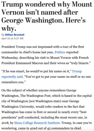 "Bitch, College, and Tumblr: Trump wondered why Mount  |Vernon isn't named after  |George Washington. Here's  why.   By Gillian Brockell  April 10 at 9:37 AM  President Trump was not impressed with a tour of the first  commander in chiefs home last year, Politico reported  Wednesday, describing his visit to Mount Vernon with French  President Emmanuel Macron and their wives as ""truly bizarre.""  ""If he was smart, he would've put his name on it,"" Trump  reportedly said. ""You've got to put your name on stuff or no one  remembers you.""  On the subject of whether anyone remembers George  Washington, The Washington Post, which is based in the capital  city of Washington (not Washington state) near George  Washington University, would refer readers to the fact that  Washington has come in first or second in nearly every ""best  presidents"" poll conducted, including the most recent one, in  2018, by Siena College Research Institute. Trump, in case you're  wondering, came in 42nd out of 45 commanders in chief. marloweseyeball:  squided:  amanda-fior:  randomslasher:  bethanyactually: *googles 'how to nominate reporter for Peabody Award'* x I literally just got dehydrated from all the salt in that one paragraph   I want to know who the 3 presidents are that are ranked lower than Trump   1.  Nixon (asshole) 2.  Reagan (super asshole) 3.  Zachary Taylor (died after one and a half years of presidency like a bitch)   Trump is ranked lower than William Henry Harrison, who died after just 31 days in office. He ranked lower than a man whose presidential legacy is that his inauguration speech was so damn long he gave himself pneumonia because of it and…died. I mean, damn."