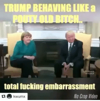 """Woooooooooooooooooow the complete disrespect. I guess because they were saying """"handshake"""" and not """"grab her by the p*ssy"""" he was offended 🙄😒😡😠 Trumper trolls I would LOVE to hear a VALID fucking reason he BLATENTLY refused to shake her hand? He heard them, even her say it and he still ignored them all. He KNEW what he was trying to prove. I don't know how but I loathe him even more now. ***************************************************** impeach ImpeachTheOrange disrespectful af rude bullshit fuckedup shady wow SoCalledPresident SCROTUS NotMyPresident ever FakePresident FakeNews AlternativeFacts petty lame asshole fucktrump TheSoCalledPresident @berniesanders @peopleforbernie @berning_media @troubleman31 @25park @nastywomengetloud @rebel_and_saint @theshaderoom @nochill @worldstar videooftheday votd: TRUMPBEHAVINGLIKEa  INSEDELI  total fucking embarrassment  No Crop Video  kwumx Woooooooooooooooooow the complete disrespect. I guess because they were saying """"handshake"""" and not """"grab her by the p*ssy"""" he was offended 🙄😒😡😠 Trumper trolls I would LOVE to hear a VALID fucking reason he BLATENTLY refused to shake her hand? He heard them, even her say it and he still ignored them all. He KNEW what he was trying to prove. I don't know how but I loathe him even more now. ***************************************************** impeach ImpeachTheOrange disrespectful af rude bullshit fuckedup shady wow SoCalledPresident SCROTUS NotMyPresident ever FakePresident FakeNews AlternativeFacts petty lame asshole fucktrump TheSoCalledPresident @berniesanders @peopleforbernie @berning_media @troubleman31 @25park @nastywomengetloud @rebel_and_saint @theshaderoom @nochill @worldstar videooftheday votd"""