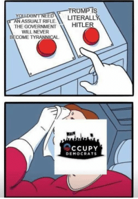 Memes, Tyrannical, and Never: -TRUMPIS  YOU.DONTNEED LITERALLY  AN ASSUALT RIFLE  THE GOVERNMENTHITLE  WILL NEVER  BECOME TYRANNICAL  0  CCUPY  DEMOCRATS