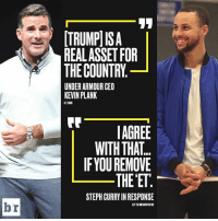 😮: [TRUMPl ISA  REALASSET FOR  THE COUNTRY  UNDER ARMOUR CEO  KEVIN PLANK  AGREE  WITH THAT  IFYOU REMOVE  THE ET  STEPH CURRY IN RESPONSE  br  H/TTHE MERCURY NEWS 😮