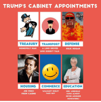 It's a heck of a line-up.: TRUMP'S CABINET APPOINTMENTS  TREASURY TRANSPORT DEFENSE  A LIMO DRIVER  MONOPOLY MAN  HULK HOGAN  WHO DOESNT TALK.  HOUSING  COMMERCE EDUCATION  JOE PESCI  MRS. LINDHOLM  WALMART SMILEY  FACE GUY  FROM CASINO  CWHO ALMOST  NEVER ASSIGNED  HOMEWORK) It's a heck of a line-up.
