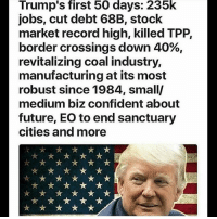 Memes, 🤖, and Usa: Trump's first 50 days: 235k  jobs, cut debt 68B, stock  market record high, killed TPP,  border crossings down 40%,  revitalizing coal industry,  manufacturing at its most  robust since 1984, small/  medium biz confident about  future, EO to end sanctuary  cities and more Since the dishonest media won't report on it I will! We are making America great again folks!🇺🇸🇺🇸 DonaldTrump America Trump protest usa Trump2020 liberals democrats Republicans conservatives buildthewall fakenews cnn like maga president obama immigrants follow politics prolife funny savage instagram presidenttrump lol Partners --------------------- @too_savage_for_democrats🐍 @raised_right_🐘 @conservativemovement🎯 @millennial_republicans🇺🇸 @ny_conservative1776😎 @floridaconservatives
