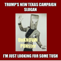 """I've been bad, I've been good Dallas Texas Hollywood. I ain't askin for much. I said Lord take me downtown I'm just lookin for some tush.""--ZZ Top: TRUMP'S NEW TEXAS CAMPAIGN  SLOGAN  NO  PUNster  IM JUST LOOKING FOR SOME TUSH ""I've been bad, I've been good Dallas Texas Hollywood. I ain't askin for much. I said Lord take me downtown I'm just lookin for some tush.""--ZZ Top"