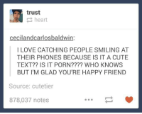 Cute, Love, and Memes: trust  heart  cecilandcarlosbaldwin:  I LOVE CATCHING PEOPLE SMILING AT  THEIR PHONES BECAUSE IS IT A CUTE  TEXT?? IS IT PORN???? WHO KNOWS  BUT I'M GLAD YOURE HAPPY FRIEND  Source: cutetier  878,037 notes