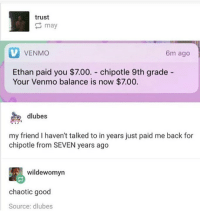 Chipotle, Memes, and Good: trust  may  VENMO  6m ago  Ethan paid you $7.00. chipotle 9th grade -  Your Venmo balance is now $7.00.  dlubes  my friend I haven't talked to in years just paid me back for  chipotle from SEVEN years ago  wildewomyn  chaotic good  Source: dlubes why is this me though