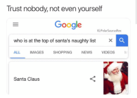 "Google, News, and Santa Claus: Trust nobody, not even yourself  Google  IG:PolarSaurusRex  who is at the top of santa's naughty list x  ALL IMAGES SHOPPING NEWS VIDEOS  Santa Claus <p>Worth investing? via /r/MemeEconomy <a href=""http://ift.tt/2AqquFU"">http://ift.tt/2AqquFU</a></p>"